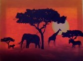African animal sunset